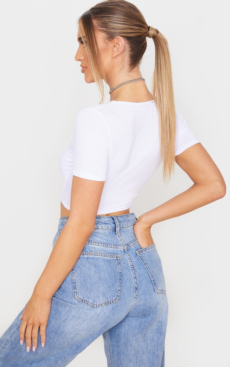 White Jersey Button Front Short Sleeve Crop Top 2