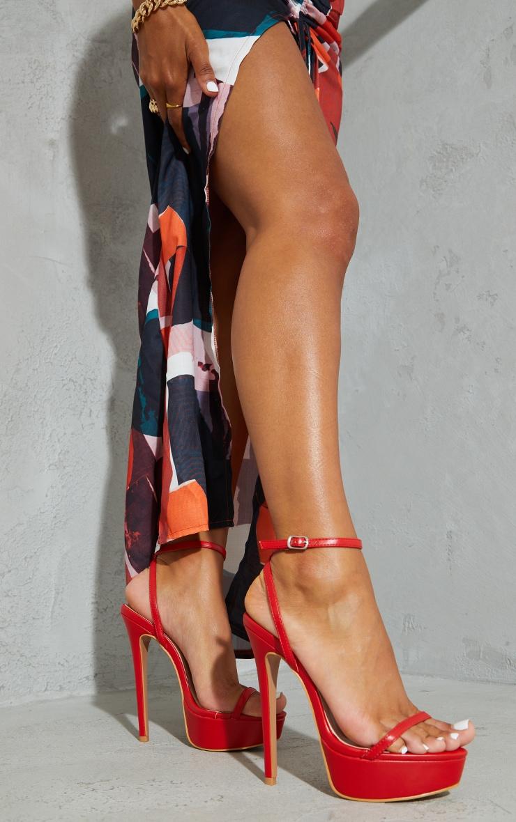 Red PU Platform Strappy High Heels 1