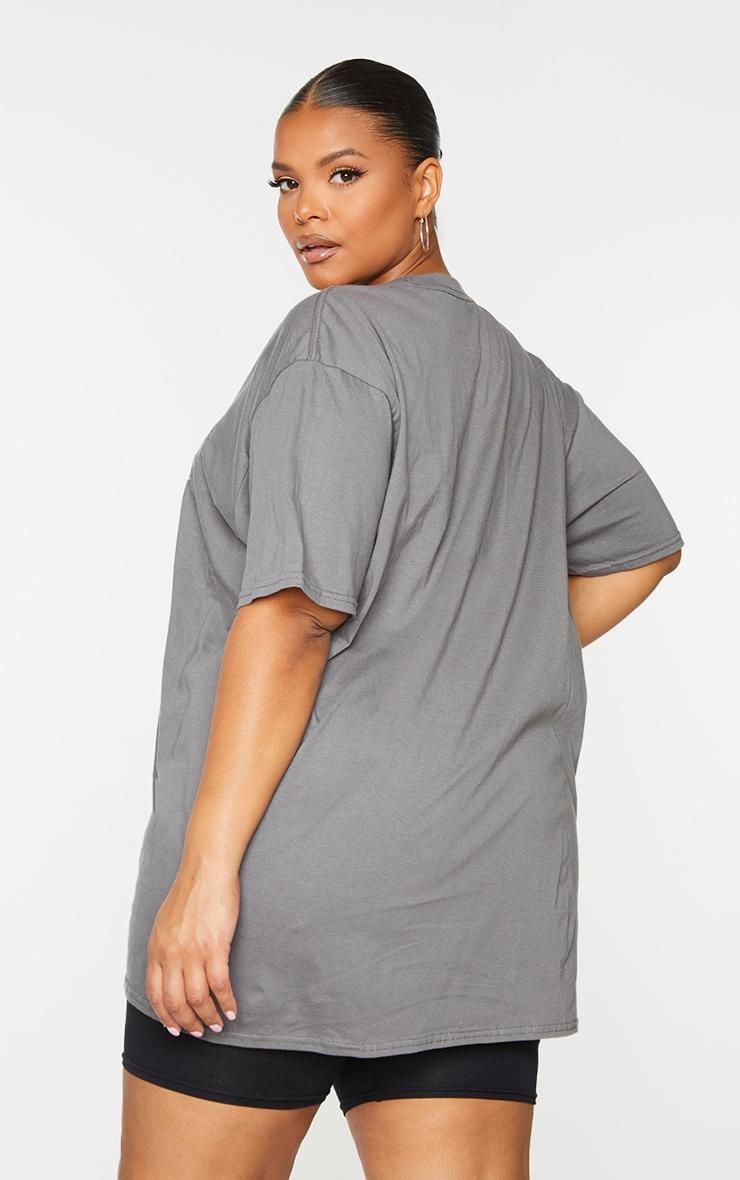 Plus Grey Nirvana Wings Print T Shirt 3