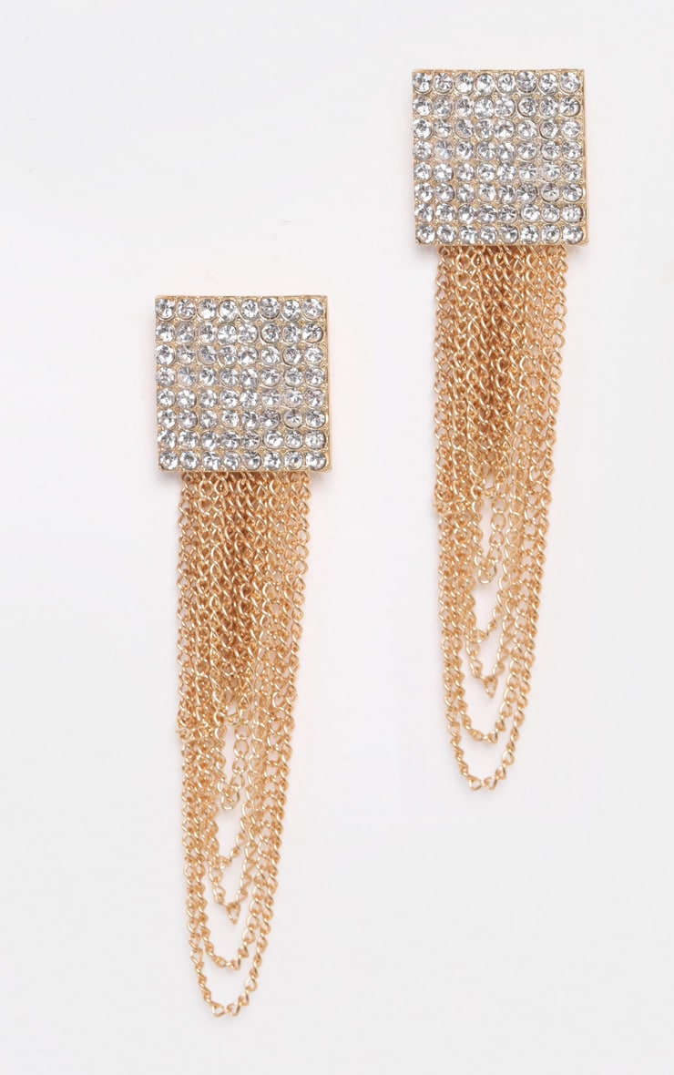 Gold Square Diamante Chain Statement Earrings   2