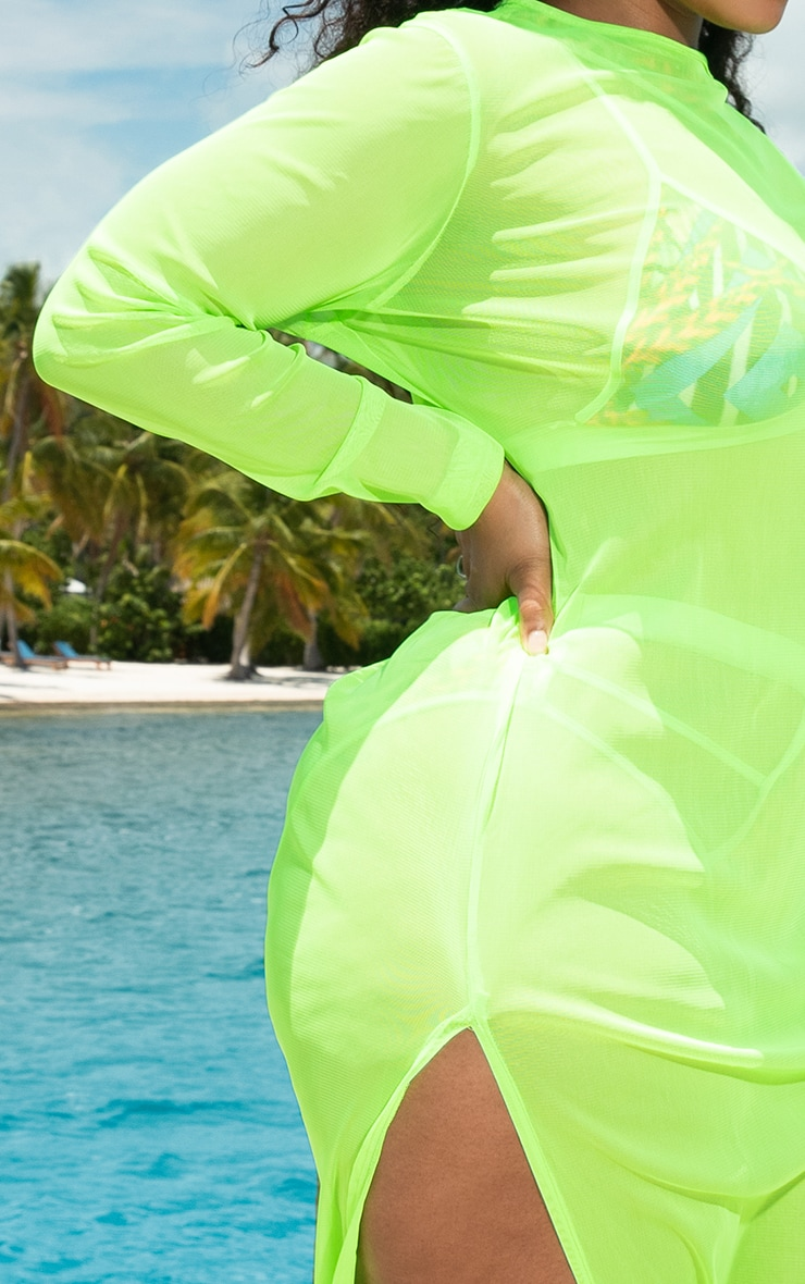 Plus Neon Lime Mesh Long Sleeve Maxi Dress 5