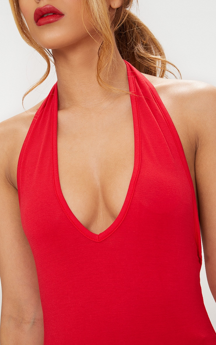 Petite Red Jersey Halterneck Low Back Bodysuit 6
