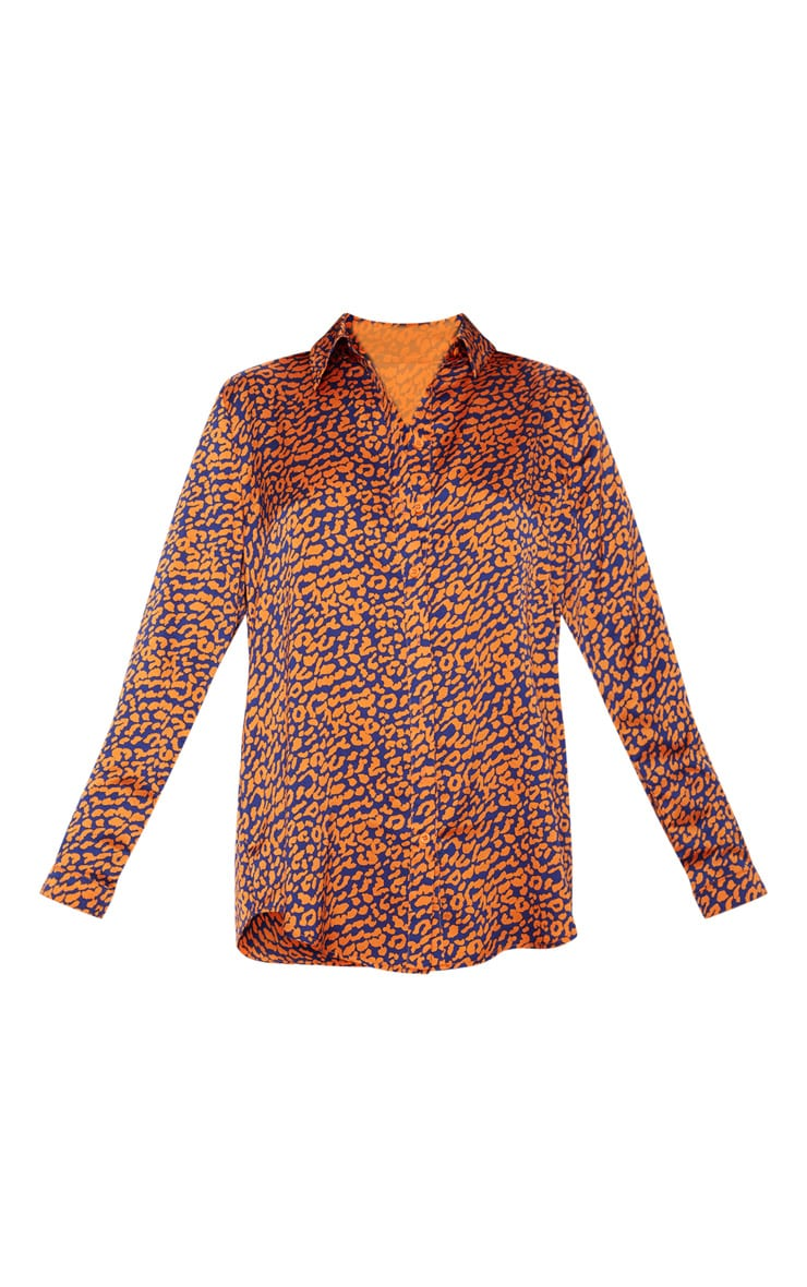 Orange Contrast Leopard Print Oversized Shirt 3