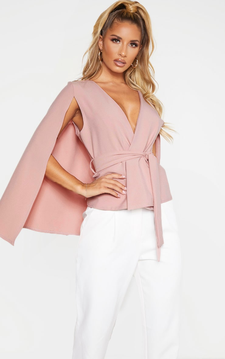 Dusty Pink Crepe Belted Cape Blazer 1