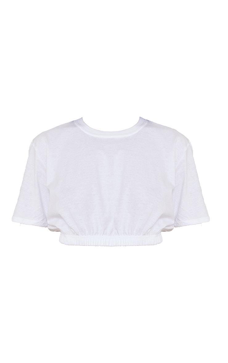 White Cropped T Shirt 5