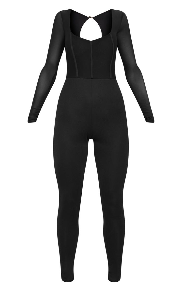 Black Mesh Sleeve Scoop Neck Jumpsuit 2