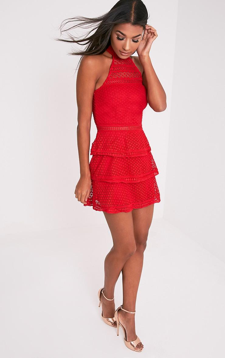 Raine Premium robe mini rouge à volants et empiècement dentelle 5