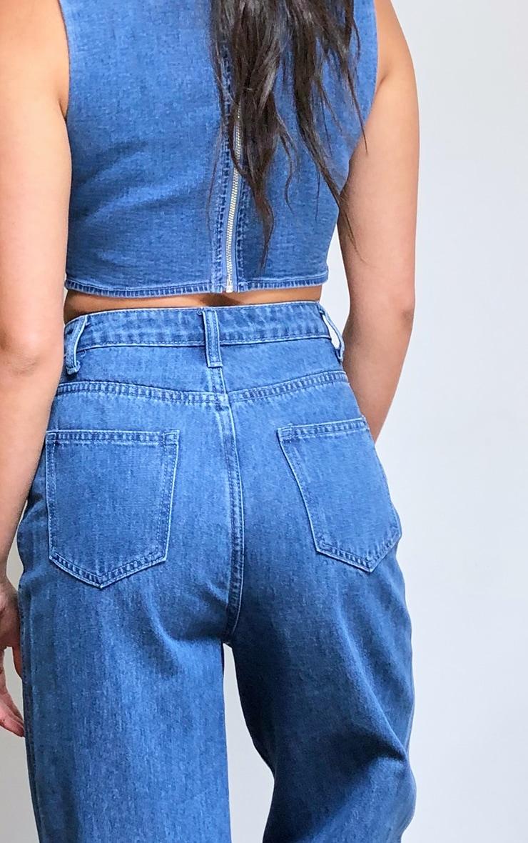 Dark Blue Wash Wide Leg Jeans 4