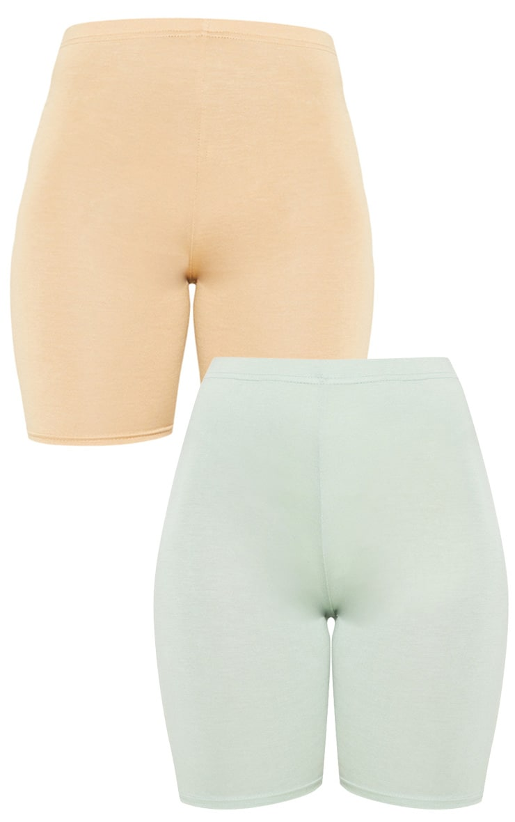 Sage Khaki And Biscuit Basic Bike Short 2 Pack 3