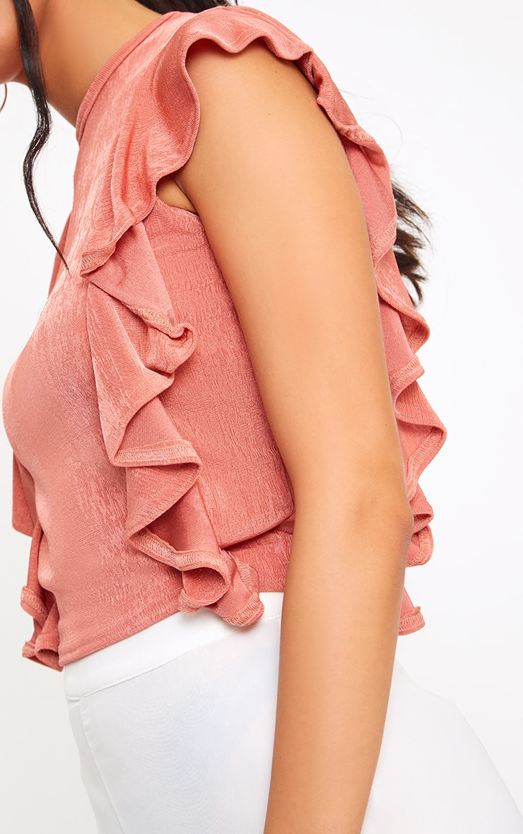 Coral Frill Shimmer Crew Neck 4
