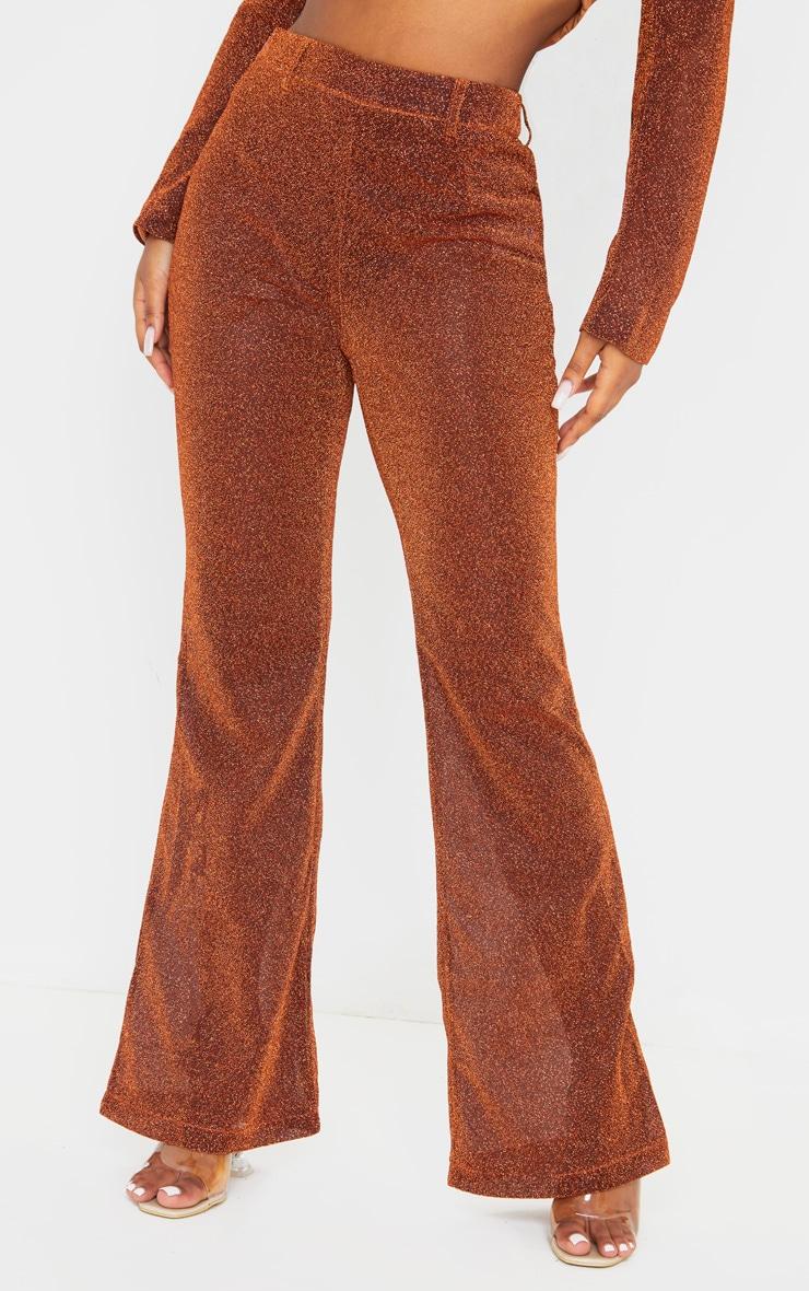 Rust Glitter Sheer Flared Leg Pants  2