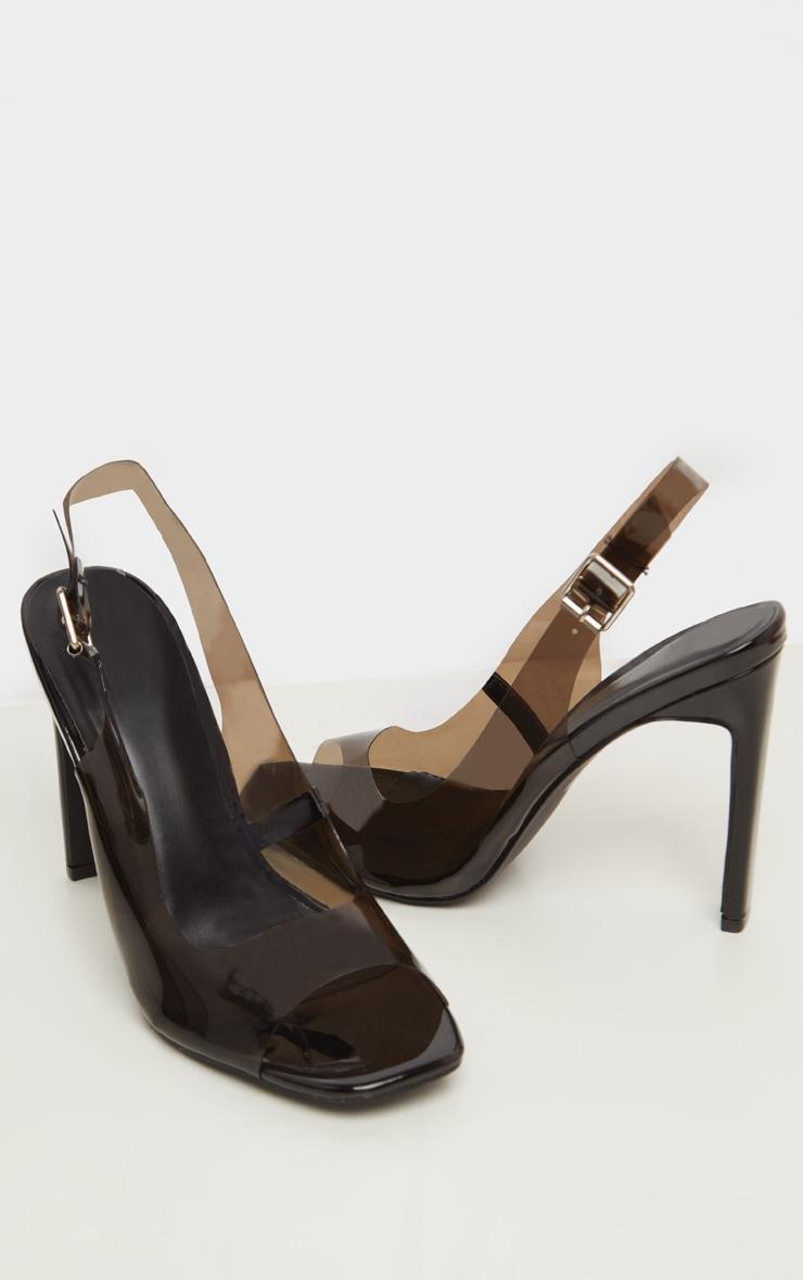 Black Wide Fit Square Toe Flat Heel Slingback Sandal 3