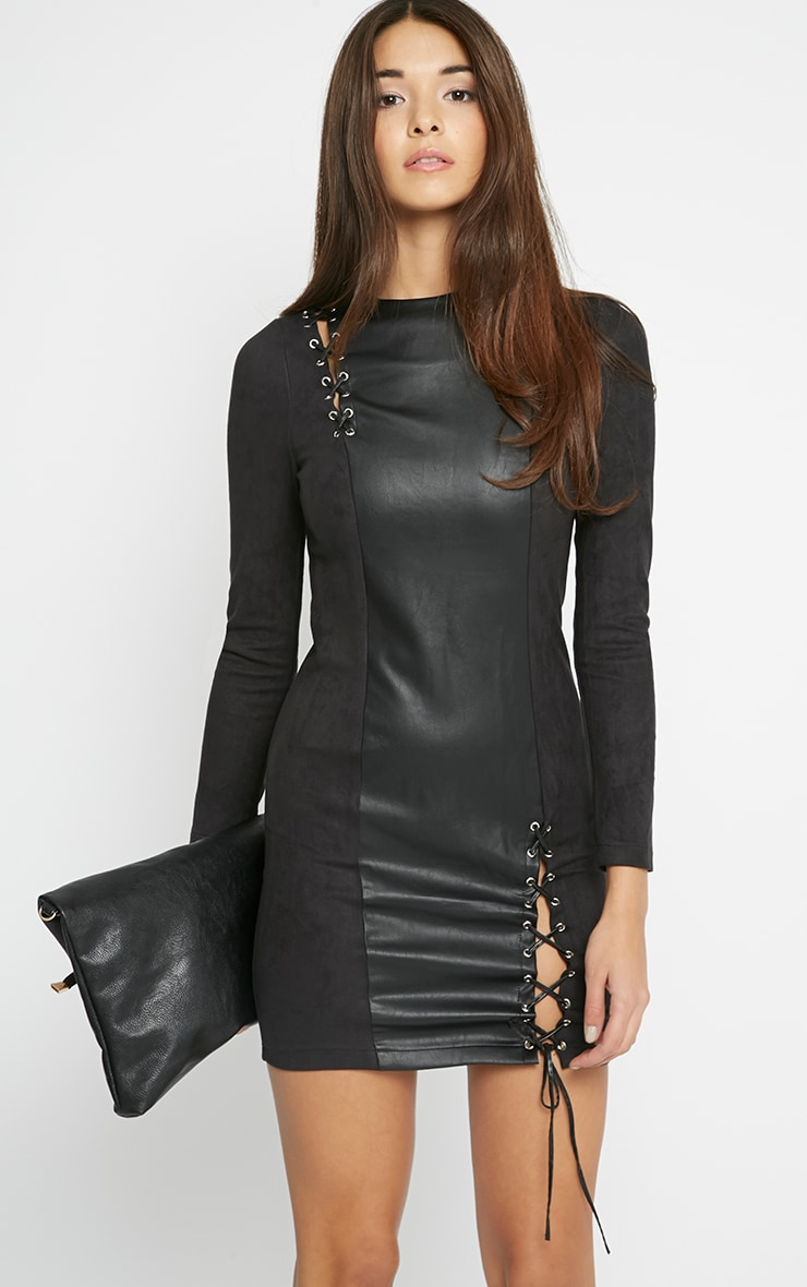 Audrey Black Lace Up Leather Panel Dress 1