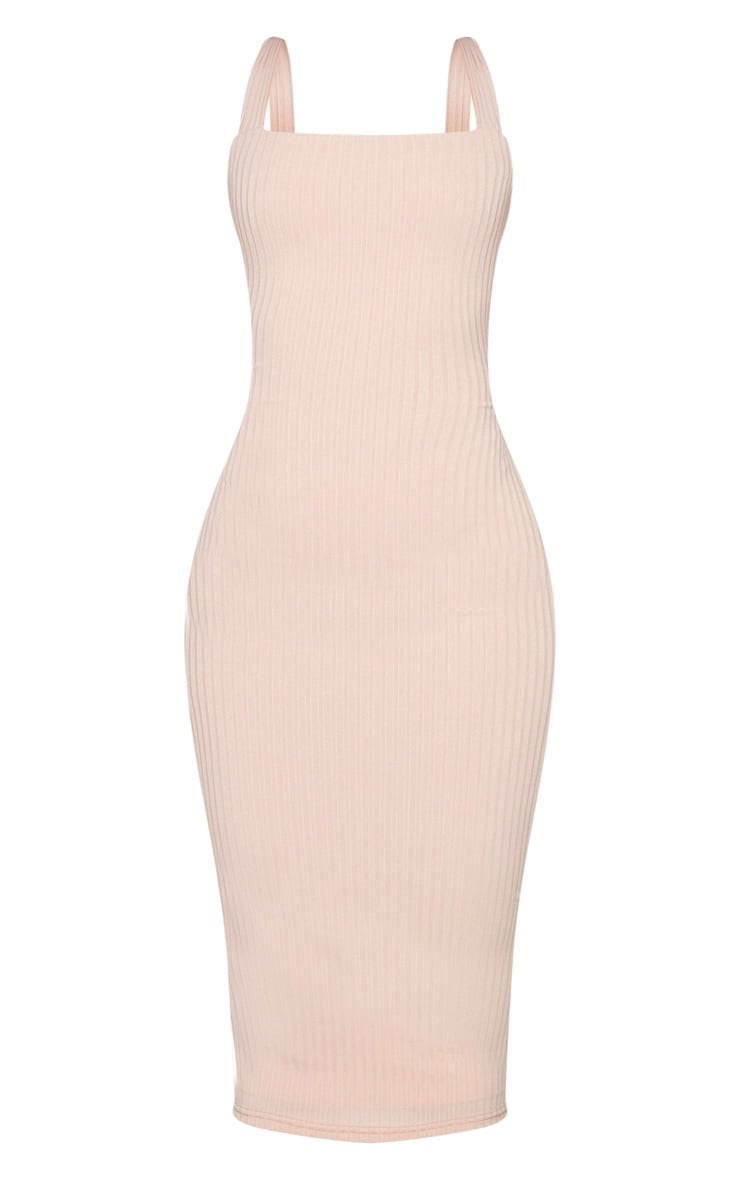 Shape Stone Ribbed Square Neck Midi Dress 5