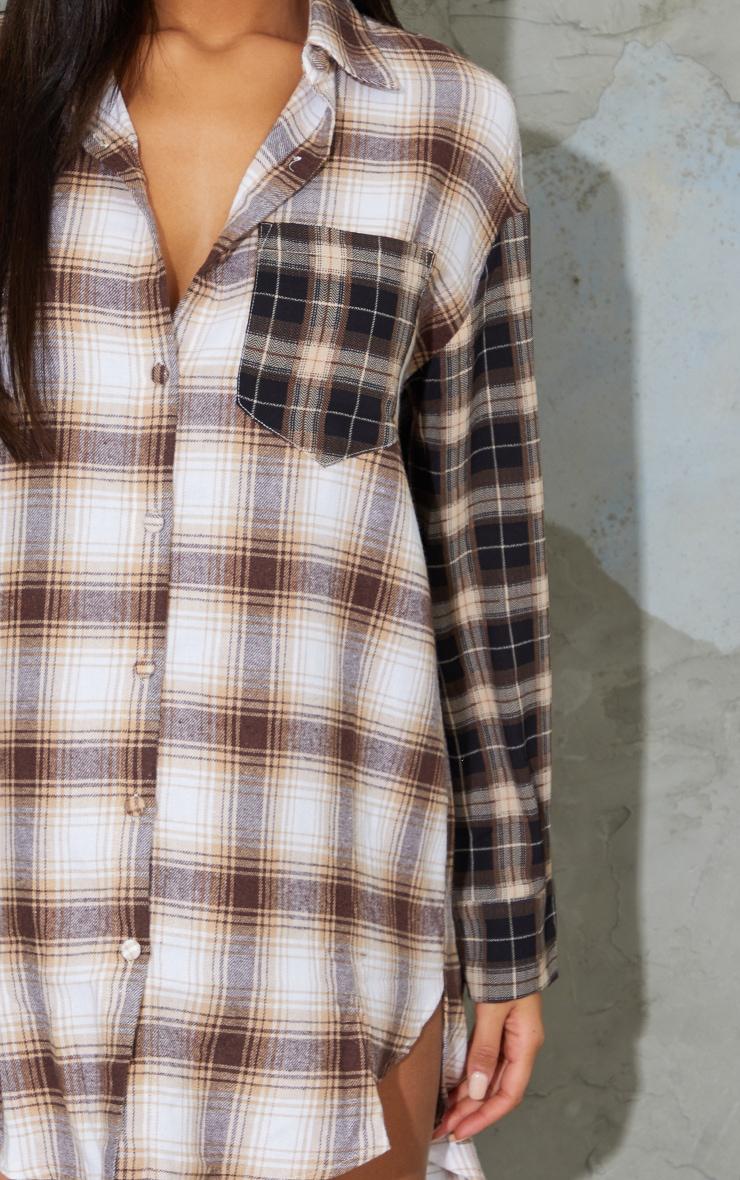 Beige Contrast Check Shirt Dress 4