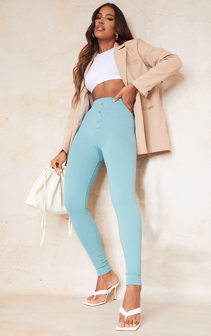 Washed Green Structured Contour Rib Button Front Leggings 1