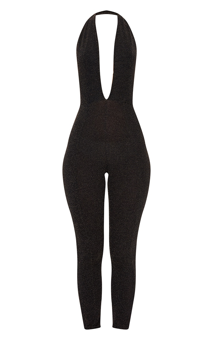 Black/Gold Lurex Plunge Jumpsuit 3