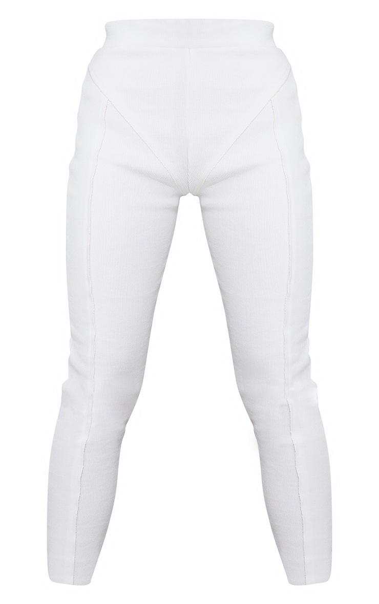Cream Raw Edge Seam Detail Ribbed Leggings 5