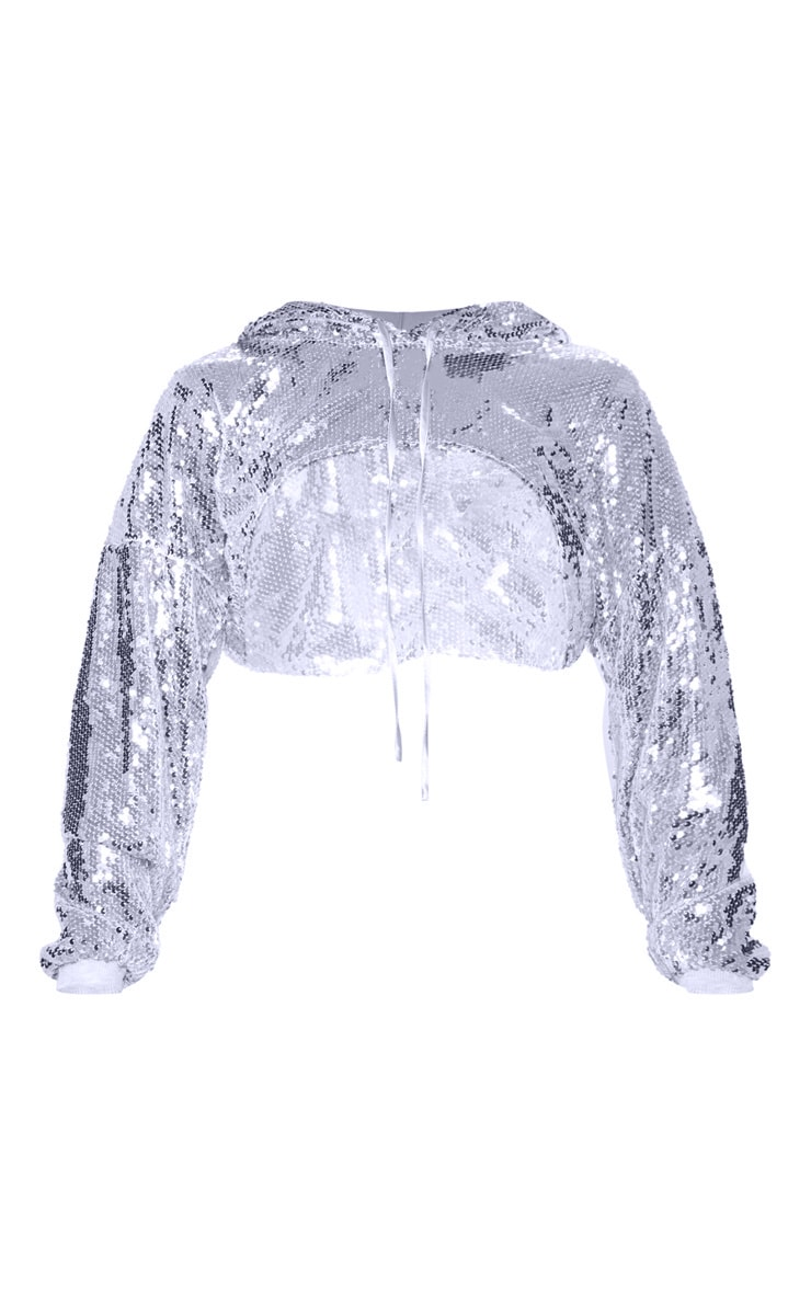 Silver Sequin Extreme Crop Hoodie 4