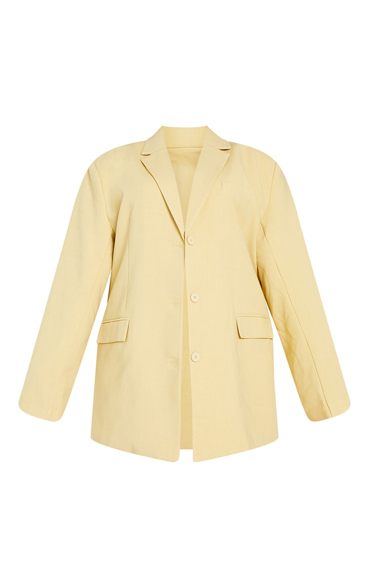 Plus Soft Yellow Woven Linen Pocket Detail Triple Button Shoulder Padded Blazer 5