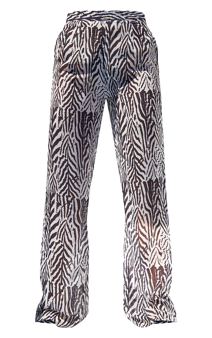 Black Zebra Print Beach Trousers 5