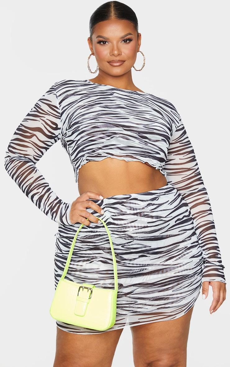 Plus Black Zebra Print Mesh Layered Crop Top 1