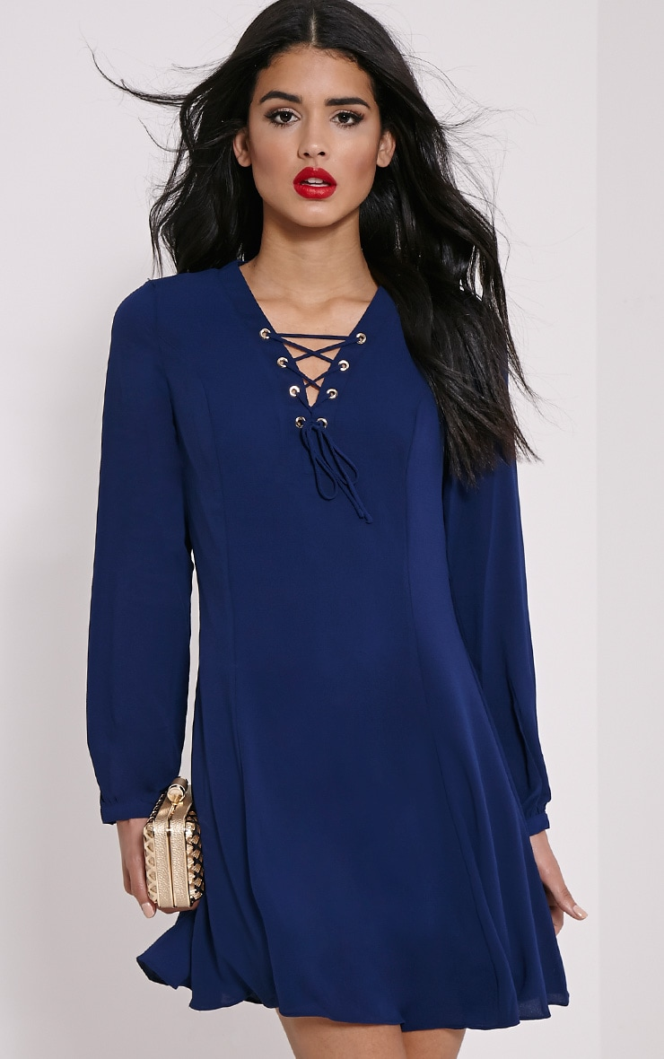 Samara Navy Lace Up Chiffon Dress 1