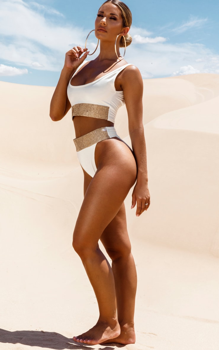 Cream Diamante High Leg Bikini Bottom 5