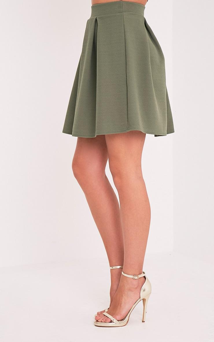 Tyra Khaki Box Pleat Full Mini Skirt 4