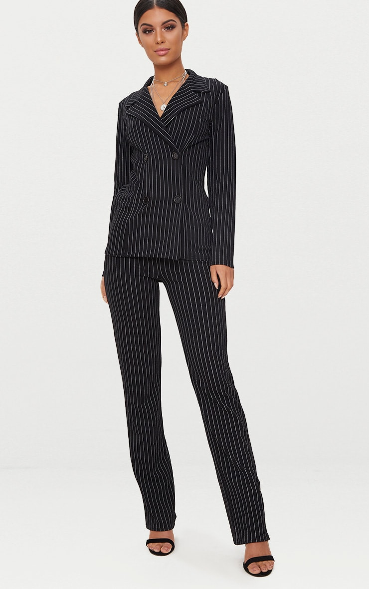 Black Pinstripe Double Breasted Blazer 4