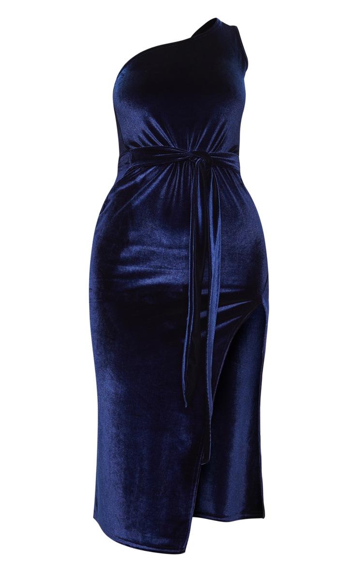 Navy Velvet One Shoulder Tie Waist Midi Dress 3