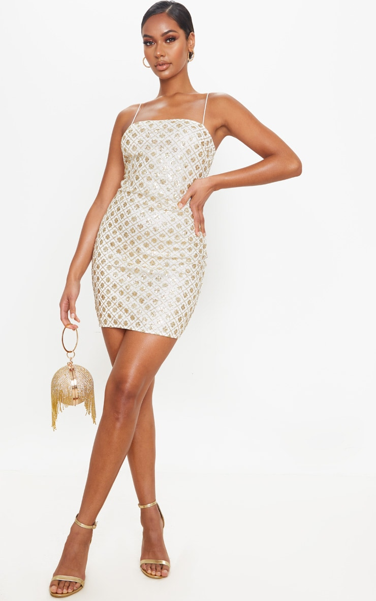 Gold Strappy Sequin Square Neck Bodycon Dress 3