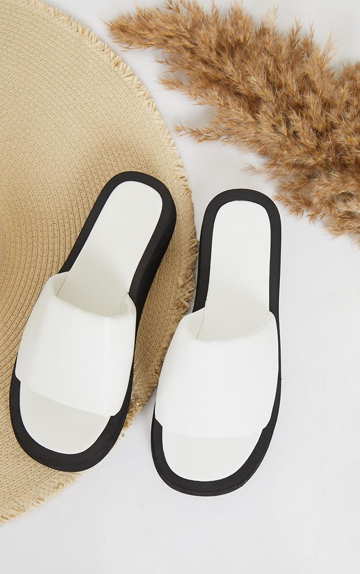 Cream PU Padded Plait Square Toe Mule Flat Sandals 3