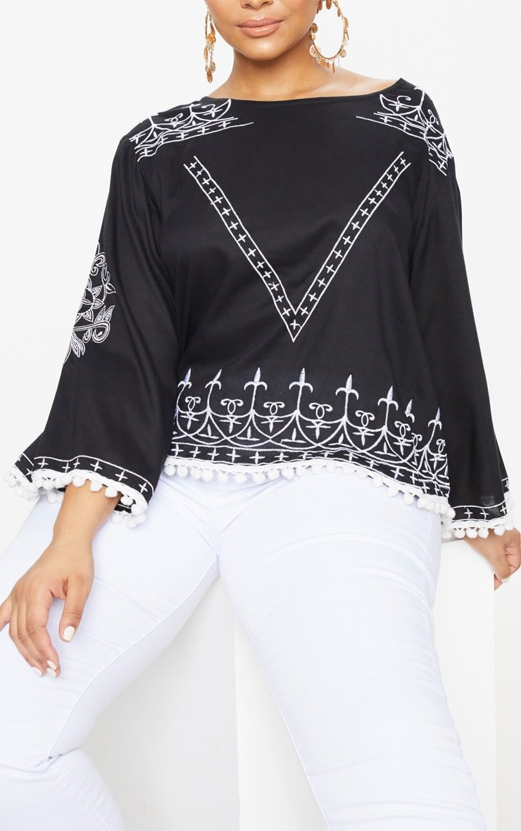Plus Black Embroidered Pom Pom Trim Top 5