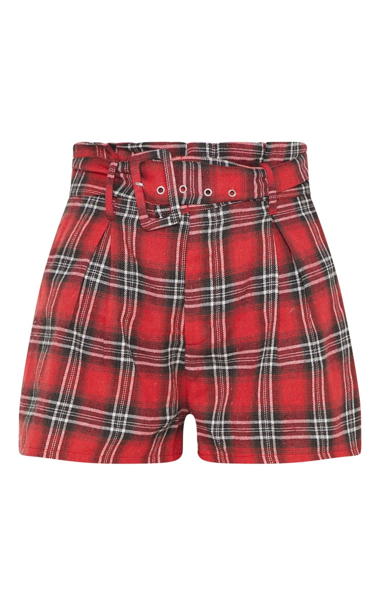 Red Check Belted Waist Short 3