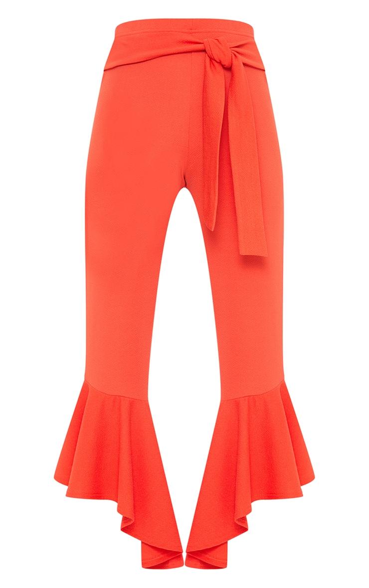 Orange High Low Hem Tie Waist Trousers 3