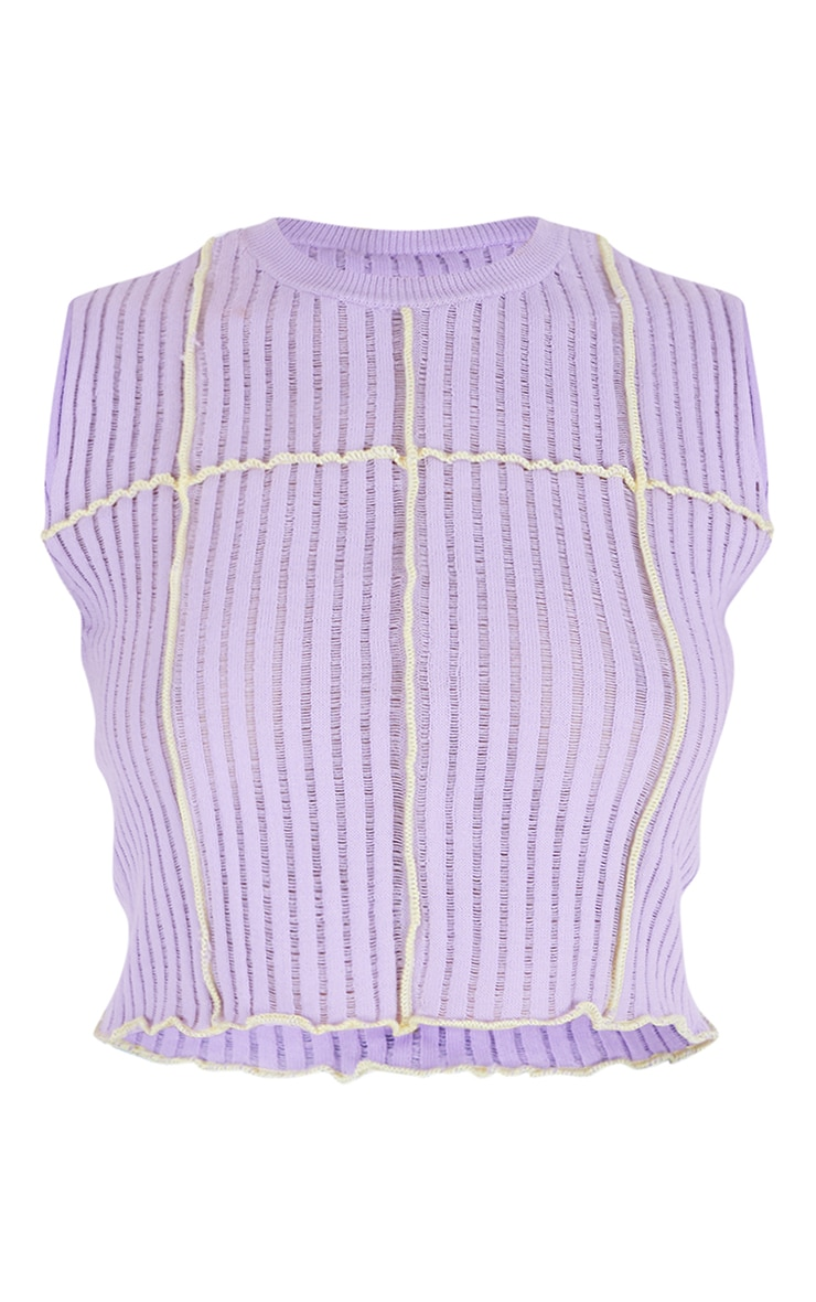 Lilac Contrast Stitch Sheer Knit Top 5