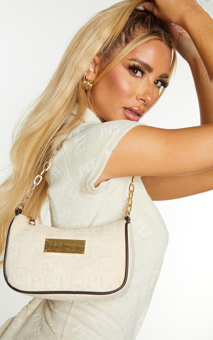 PRETTYLITTLETHING Cream Embossed Gold Chain Shoulder Bag 1