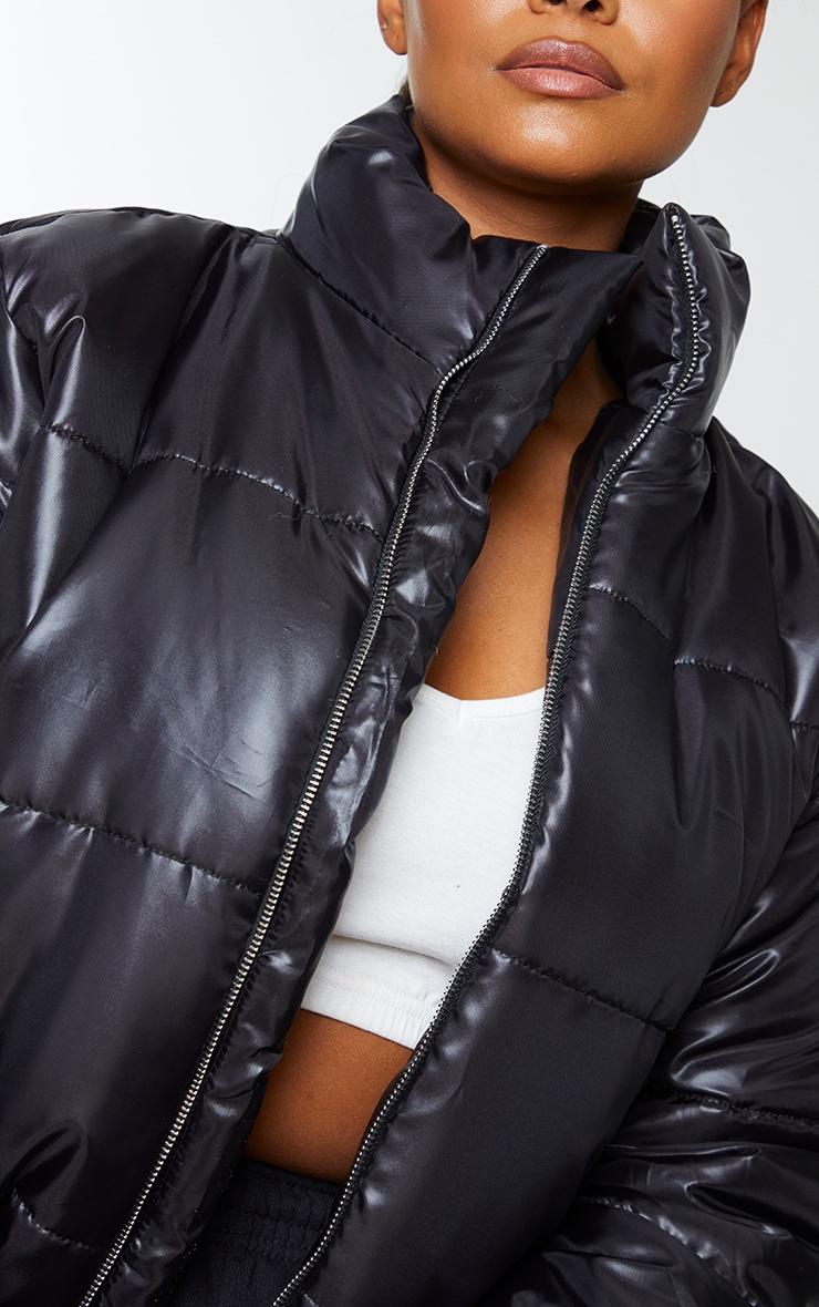 Plus Black High Shine Cropped Puffer Jacket 4