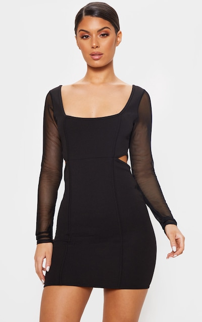 24af374360 Black Mesh Sleeve Cut Out Bodycon Dress