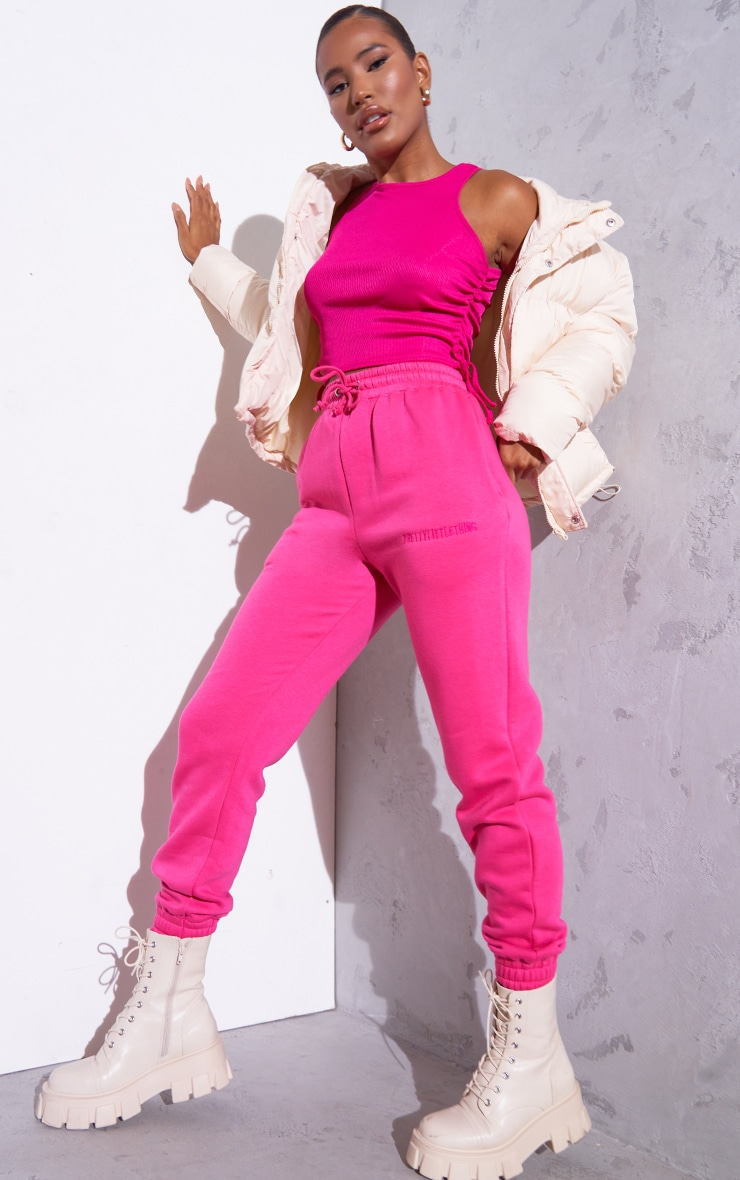RENEW Pink Rib Ruched Side Racer Top 3