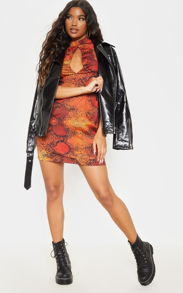 Orange Snake Print Ruched Key Hole Shift Dress 4