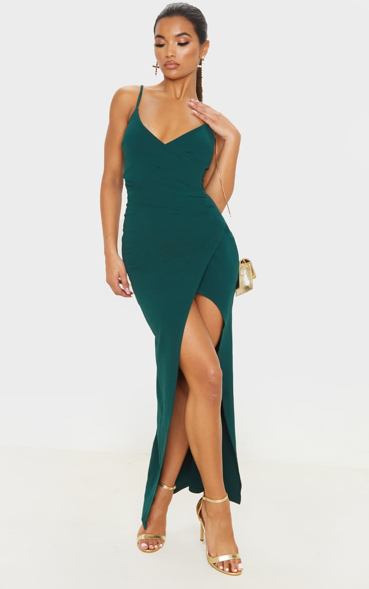 Emerald Green Wrap Front Crepe Maxi Dress 5