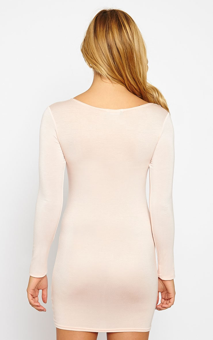 Basic Nude Long Sleeve Jersey Mini Dress 2