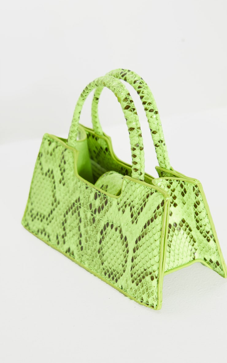 Mini-sac trapèze imitation croco vert fluo 3