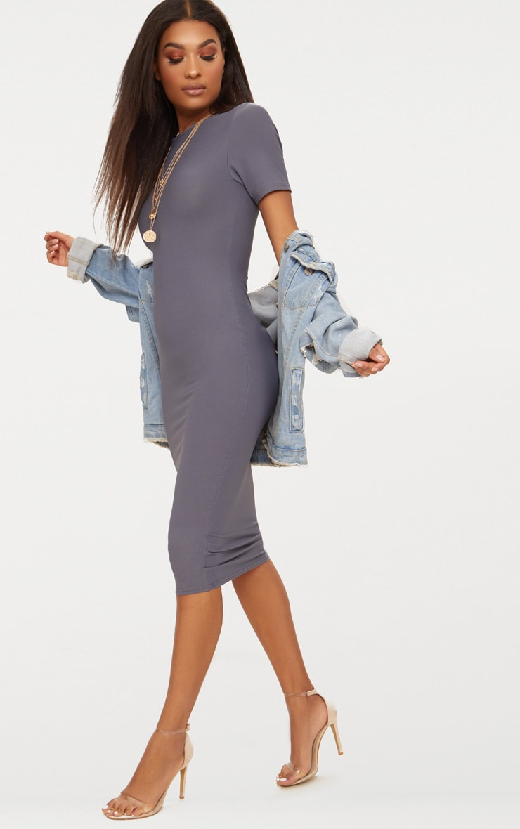 Charcoal Grey Cap Sleeve Midi Dress  4