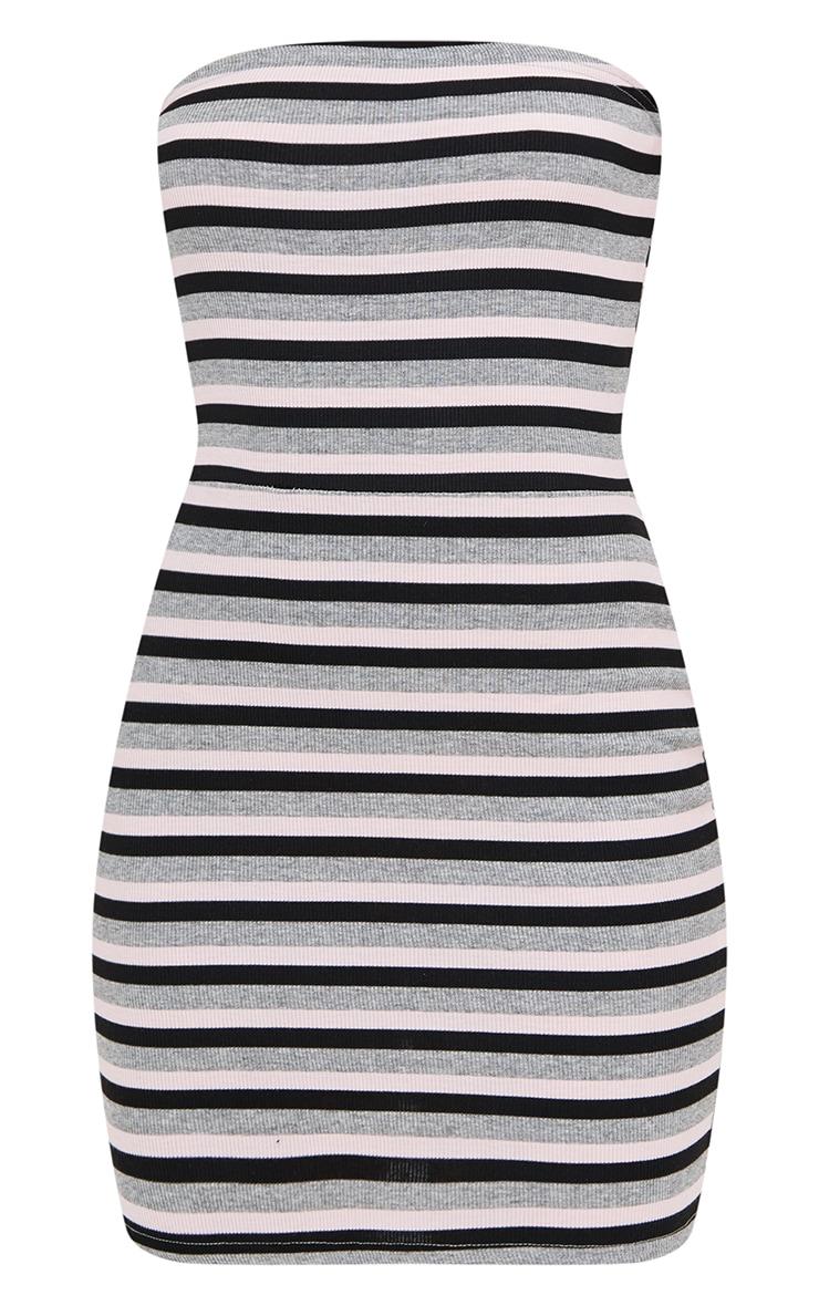 Grey Striped Bodycon Dress 3