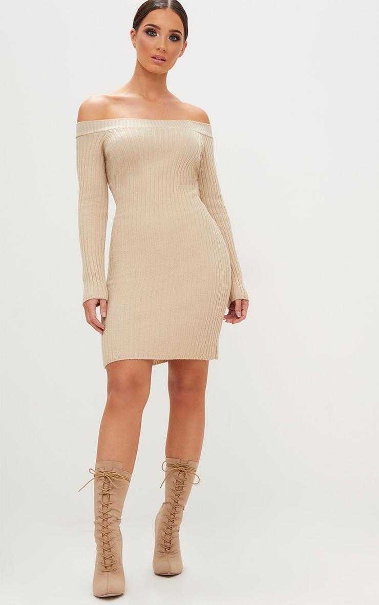 Stone Knit Bardot Mini Jumper Dress 4