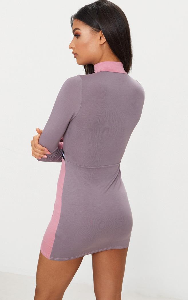 Dark Mauve Sports Stripe Zip Detail Dress 2