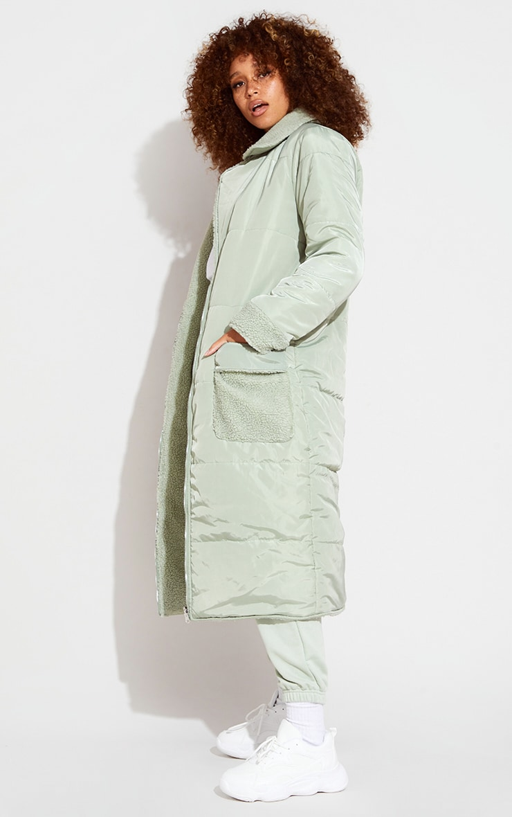 Sage Green Borg Reversible Nylon Maxi Coat 1